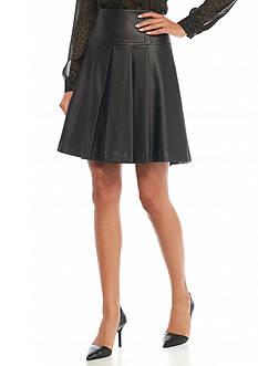 MICHAEL Michael Kors Faux Leather Pleated Skirt