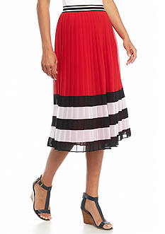 MICHAEL Michael Kors Striped Pleated Skirt