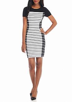 MICHAEL Michael Kors Striped Short Sleeve Sweater Dress