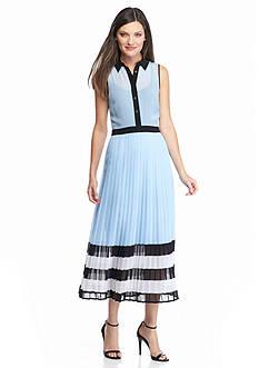 MICHAEL Michael Kors Button Down Pleated Dress
