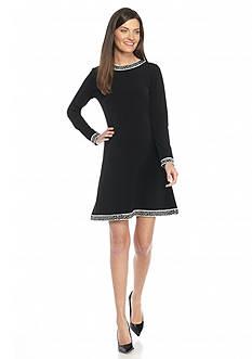 MICHAEL Michael Kors Long Sleeve Printed Trim Dress