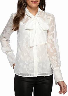 MICHAEL Michael Kors Floral Jacquard Tie Neck Blouse