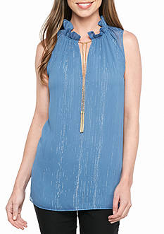 MICHAEL Michael Kors Ruffle Chain Neck Blouse