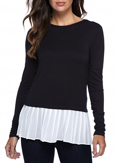 MICHAEL Michael Kors Pleated Woven Hem Top