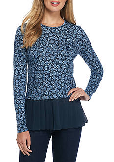 MICHAEL Michael Kors Floral Pleated Top