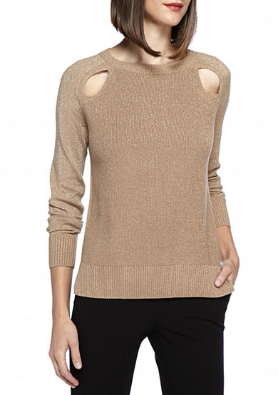 MICHAEL Michael Kors Cut Out Long Sleeve Sweater