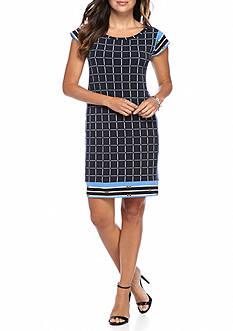 MICHAEL Michael Kors Dressage Border Checkered Dress