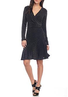 MICHAEL Michael Kors Long-Sleeve Wrap Flounce Dress