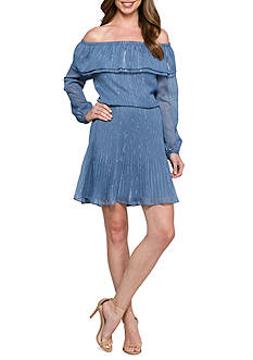 MICHAEL Michael Kors Off Shoulder Pleat Dress