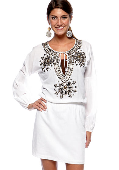 MICHAEL Michael Kors Embellished Peasant Dress