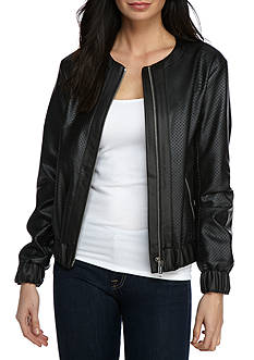MICHAEL Michael Kors Faux Leather Bomber Jacket