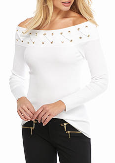 MICHAEL Michael Kors Off Shoulder Laced Neck Sweater