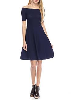 MICHAEL Michael Kors Off Shoulder Texture Dress