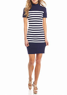 MICHAEL Michael Kors Mock Neck Stripe Dress