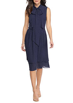MICHAEL Michael Kors Pleated Polka Dot Bow Neck Dress