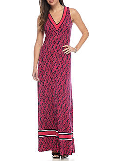MICHAEL Michael Kors Mamba Border V-Neck Maxi Dress