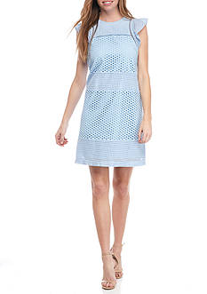 MICHAEL Michael Kors 3 Combo Eyelet Short Sleeve Dress