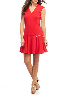 MICHAEL Michael Kors V-Neck Zip Pocket Dress