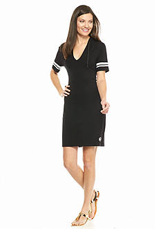 MICHAEL Michael Kors Stripe Sleeve Hooded Dress