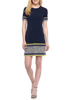 MICHAEL Michael Kors Short Sleeve Solid Border Dress