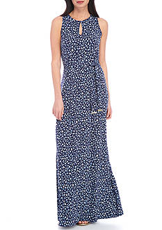 MICHAEL Michael Kors Clara Print Belted Maxi Dress