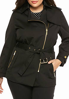 MICHAEL Michael Kors Plus Size Zip Detail Trench Coat