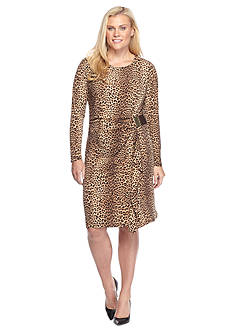MICHAEL Michael Kors Plus SizeLeopard Logo Plate Wrap Dress