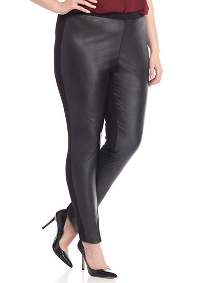MICHAEL Michael Kors Plus Size Faux Leather Front Ponte Leggings