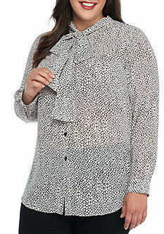 MICHAEL Michael Kors Plus Size Graphic Scale Button Down Top