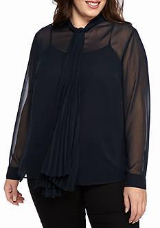 MICHAEL Michael Kors Plus Size Pleated Neck Tie Top