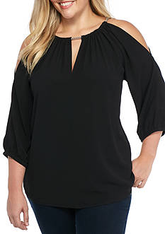 MICHAEL Michael Kors Plus Size Chain Cold Shoulder Top
