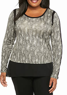 MICHAEL Michael Kors Plus Size Textered Scale Woven Top