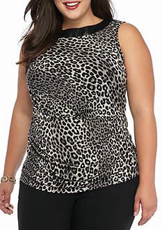 MICHAEL Michael Kors Plus Size Printed Leather Yoke Top