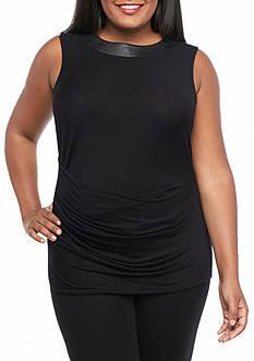 MICHAEL Michael Kors Plus Size Leather Yoke Side Pleat Top