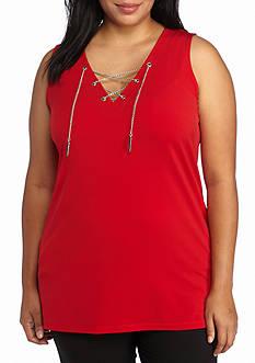 MICHAEL Michael Kors Plus Size Sleeveless Chain Lace Up Tunic