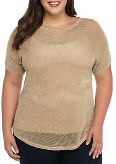 MICHAEL Michael Kors Plus Size Mesh Short Sleeve Boxy Sweater