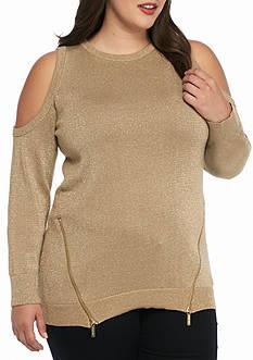 MICHAEL Michael Kors Plus Size Cold Shoulder Metallic Zip Sweater