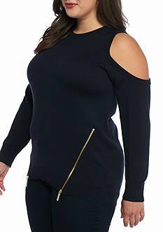 MICHAEL Michael Kors Plus Size Cold Shoulder Zip Sweater