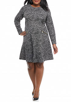 MICHAEL Michael Kors Plus Size Tweed Zip Ponte Dress
