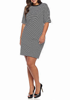 MICHAEL Michael Kors Plus Size Striped Crew Neck Dress