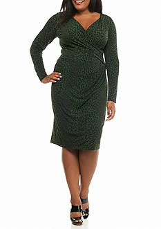 MICHAEL Michael Kors Plus Size Panther Long Sleeve Wrap Dress