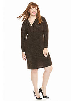 MICHAEL Michael Kors Plus Size Asymmetrical Logo Ring Dress
