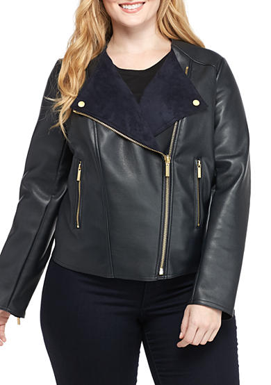 Michael by Michael Kors Plus Size Leather Ponte Jacket