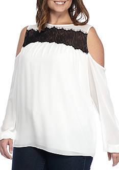 MICHAEL Michael Kors Plus Size Lace Trim Cold Shoulder Top