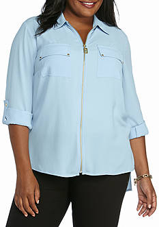 Michael by Michael Kors Plus Size Allover Umbria Lace Dog Tag Top