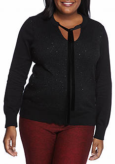 MICHAEL Michael Kors Plus Size Velvet Tie Sequin Sweater