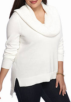 Michael by Michael Kors Plus Size Waffle Cowl Neck Sweater