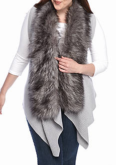 MICHAEL Michael Kors Plus Size Faux Fur Front Sweater Vest