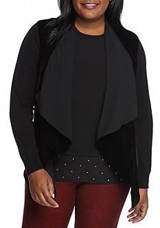MICHAEL Michael Kors Plus Size Velvet Drape Open Sweater