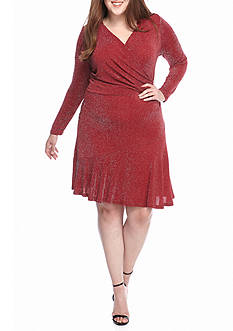 MICHAEL Michael Kors Plus Size Long Sleeve Flounce Dress